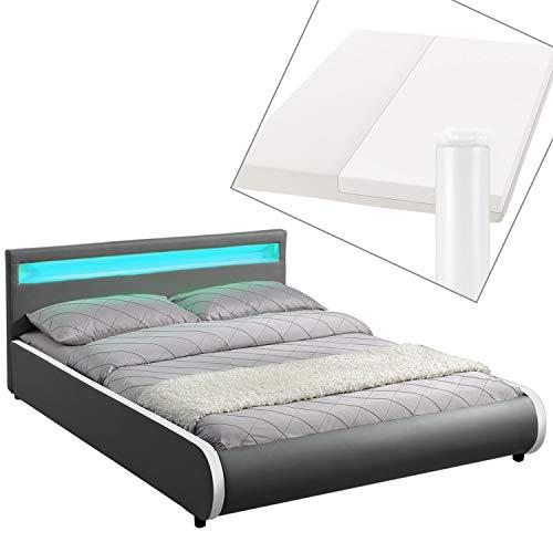 ArtLife Polsterbett Sevilla 140 x 200 cm - Bett mit Matratze, Lattenrost & LED – Holz & Kunstleder - grau – Jugendbett Gästebett Einzelbett