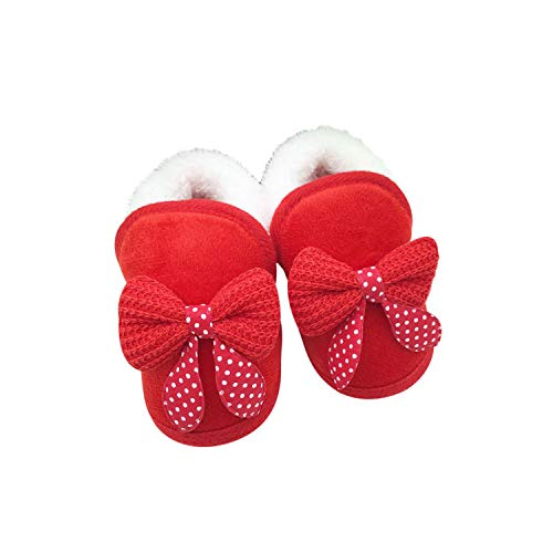 ENERCAKE Baby Booties Newborn Boy Girl Shoes Winter Warm Fur Lining Non-Slip Lace Up Prewalker Boots(12-18 Months Toddler, A-Red)