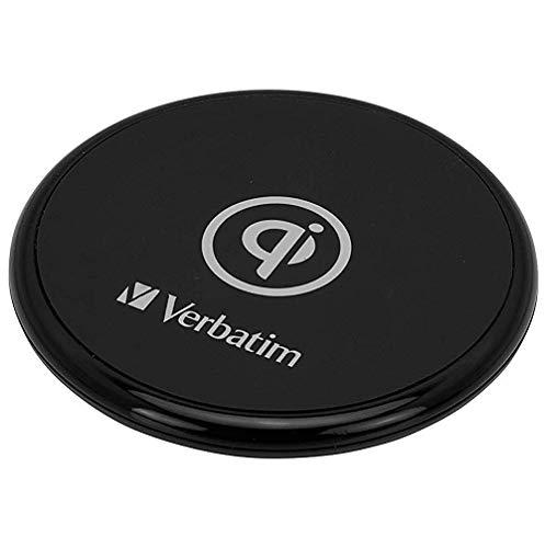 Verbatim draadloze oplader met rubberen ommanteling, mobiele telefoon opladen zonder kabel, Wireless Charging Pad voor Qi-mobiele telefoons, snellaadmodus met 10 W, zwart, 49550