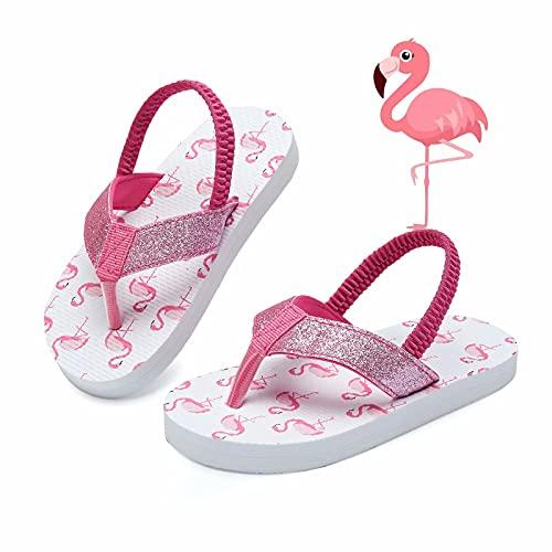 Kinghealth Unisex Kinder Sandalen Mädchen Jungen Zehentrenner Baby Flip Flop mit Rückenband für Sommer und Strand (Flamingo EU 30/31)