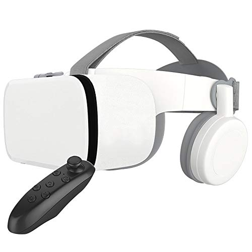 YQK 110°FOV Virtual Reality Headset with Controller,Foldable 3D VR Glasses with Soft & Comfortable,Wireless High-Speed Audio Streaming Transmission Suitable for Android&I0S,A