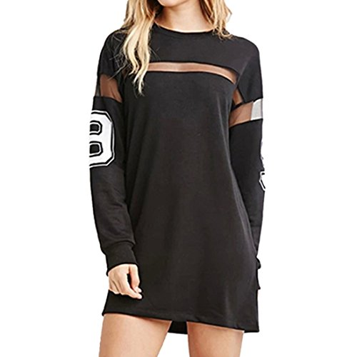 QIYUN.Z Frauen Schwarz Gedruckt Baseball T-Shirt Kleid Spleißen Lange àrmel Mini-Rock, Schwarz, XXL