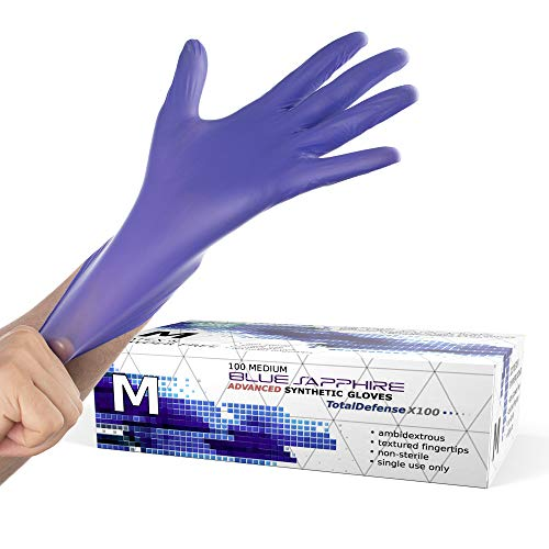 Synthetic Nitrile Disposable Gloves Medium -100 Pack -Latex Free Medical Gloves