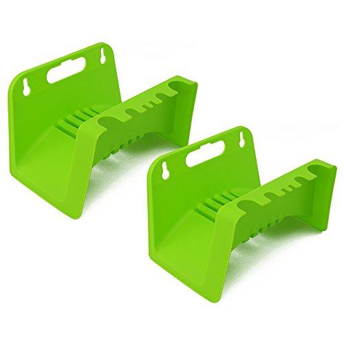 com-four® 2X Gartenschlauch-Halterung - Schlauchhalter für Garten, Keller und Schuppen - Wandhalterung für den Gartenschlauch (2 Stück - grün)