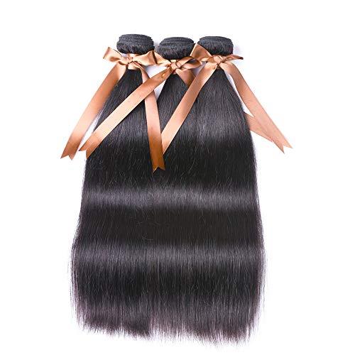 ALLRUN Brazilian Straight Human Hair 3 Bundles 100% Unprocessed Brazilian Virgin Human Hair Weave Straight Hair Bundles Extension Natural Color(22 24 26inch)