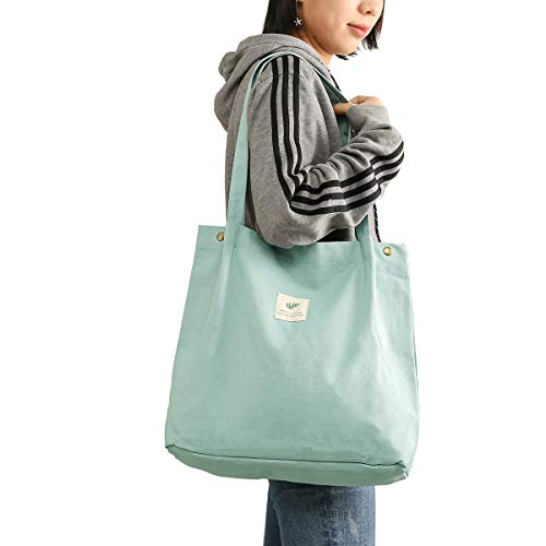 JISEN Canvas Tote Bag für Damen Mädchen Große Wiederverwendbare Tragetasche Schultertasche mit Innentasche B-Grün