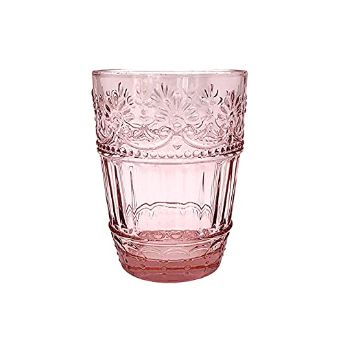 ZWWZ Tazas de Vidrio,Taza de Cristal,Taza de té de Cristal,Copa de Burbuja de Bebida de Jugo,Relieve Floral Retro nórdico,Material de Vidrio sin Plomo,Textura cristalina,Bellamente diseñado.