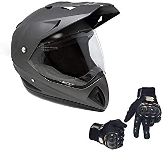 MMG 27V Combo Helmet Dual Sport Off Road Motorcycle Dirt Bike ATV - FlipUp Visor - Large, Matte Grey with Black Gloves Size L