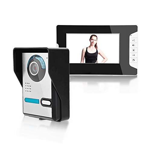 Timbre de intercomunicación de video LCD de 7 pulgadas 16 tonos de llamada para elegir, sin radiación, baja potencia, visión nocturna, impermeable, desbloqueo, vigilancia (US Plug)