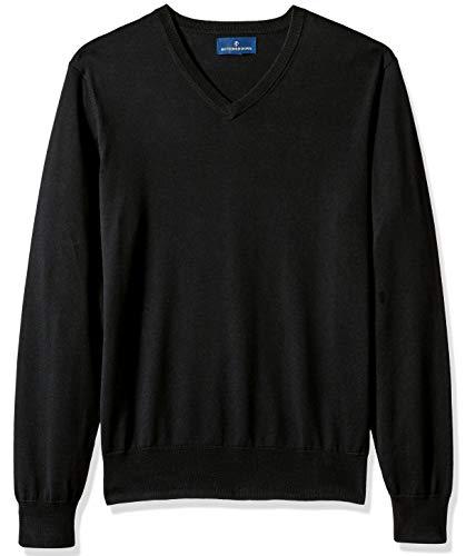 BUTTONED DOWN Men's Supima Cotton Lightweight V-Neck Sweater, black, Large