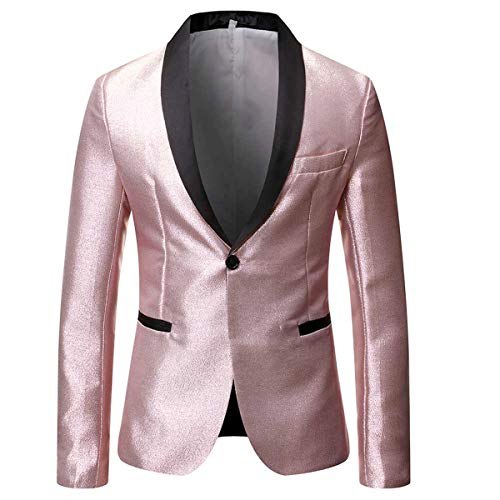 Mens Magic Color Tuxedo Suit Jacket Luxury Slim Fit Dress Blazer Prom Sport Coat,Pink/Silver,Large
