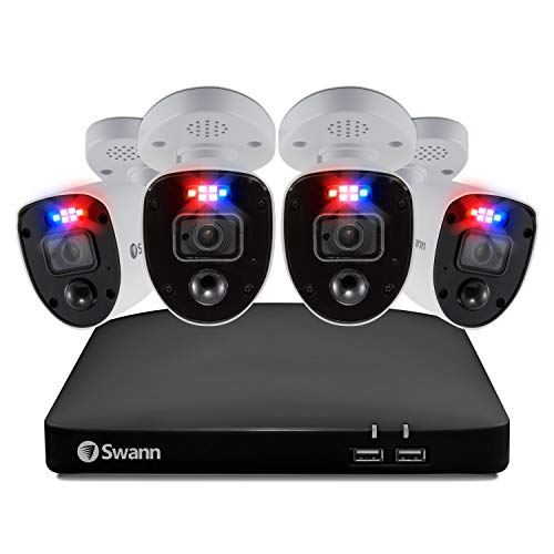 Swann El Sistema de CCTV Enforcer 4K, DVR-5680 de 2TB y 4 cámaras analógicas de CCTV PRO-4KRL Enforcer Bullet, Funciona con Google Assistant y Alexa