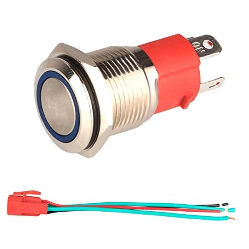 GUUZI 220V-230V/15A Interrupteur à Bouton-Poussoir Momentané NO Lumière LED Bleue Etanche Illuminé 16mm Bouton-Poussoir de Démarrage en Métal avec Prise de Courant