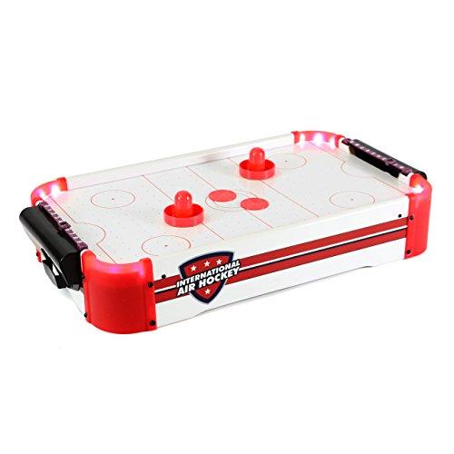 Nexos Mini Air-Hockey-Tisch Tischspiel Lufthockey mit LED-Beleuchtung, mit Gebläse, 55 x 31 x 9,5 cm inkl. Puck Filz Puscher und Torzähler für Groß und Klein
