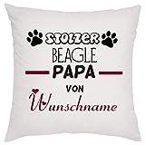 crealuxe Stolzer Beagle Papa von (Wunschname) Zierkissen, Sofakissen, bedrucktes Kissen,...
