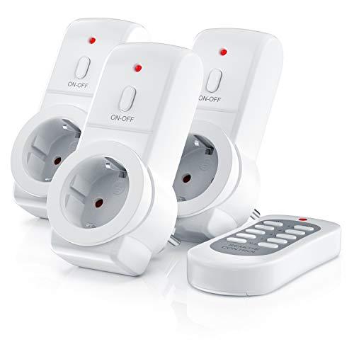 CSL - Funksteckdosen Set mit Fernbedienung - 3er Set für den Innenbereich Indoor - bis zu 25m - LED-Statusanzeige - integrierter Berührungsschutz - 3680W - IP20 - weiß