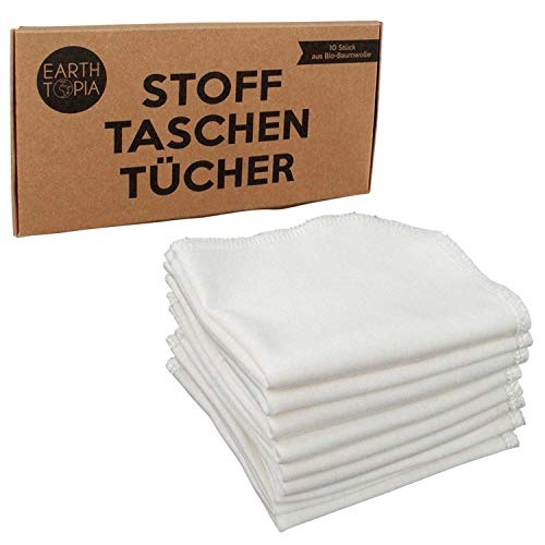 Earthtopia 10 Stück Stofftaschentücher aus Bio-Baumwolle | klein, weiß und unauffällig | ähnliche Optik wie Papiertaschentücher