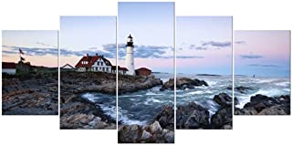 Wieco Art Portland Lighthouse 5 Piece Seascape Canvas Paintings Wall Art Extra Large Modern Ocean Sea Beach Giclee Canvas Prints Artwork Pictures Home Office Decoration for Living Room Bedroom XL