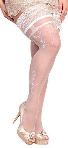 Unbekannt Ballerina Halterlose Damen-Strümpfe, weiß Strapsoptik XL XXL Hochzeit Grössen XXL+