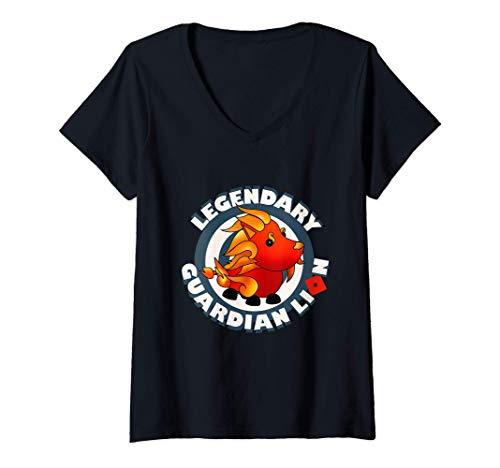 Mujer El legendario León Guardián adopta mi equipo de juego Camiseta Cuello V