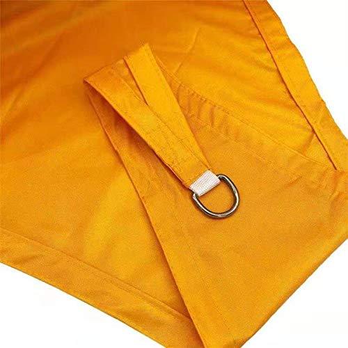 Gycdwjh Vela de Sombra Triángulo, Protección Rayos UV Toldos Material de Poliéster Resistente y Transpirable Toldo Vela con Cuerda Fija para Patio Exteriores Jardín 10 * 10 * 10FT,Mango Yellow