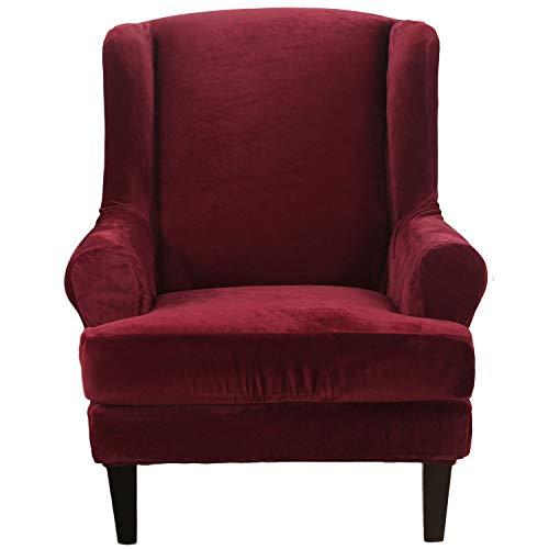 SHANNA Elastischer Sofabezug, Sesselbezug Stretch Elastischer Sofabezug 2 Stücke Ohrensessel Bezug Sofaüberwurf Weiches Silberfuchs-Kunstpelzmaterial - Weinrot