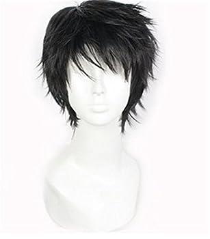 Short Black Men Fluffy Straight Cosplay Heat Resistant Halloween Wig
