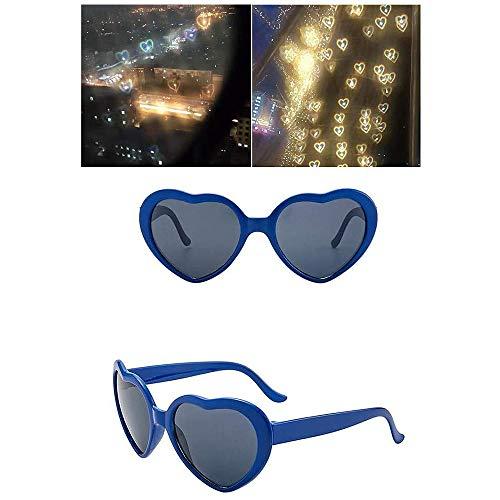 LOVEMIN Forma de CorazóN Gafas, Gafas de Moda de Amor, Luces con Forma de CorazóN se Convierten en Gafas de Efectos Especiales de Amor (Azul)