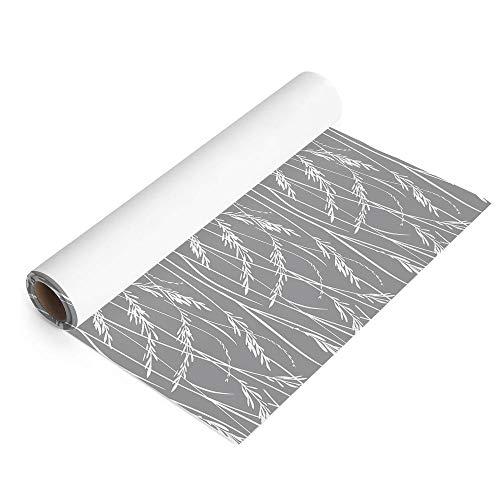 Vinilo Adhesivo para Muebles, Papel Pintado Autoadhesivo para Pared, Espigas de Trigo, 45 x 200 cm (0.90 m²), Decoración para Hogar y Cocina, Color Gris, VNL-088-GR-M2