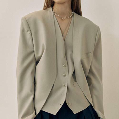 Chaqueta de traje, europea y americana para mujer otoño 2021, chaqueta de traje de dos piezas, chaleco pequeño.