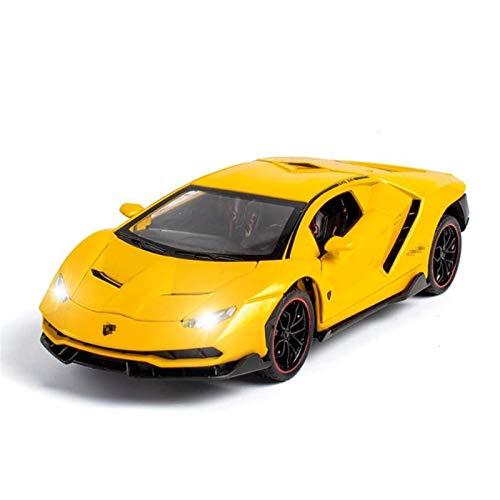 Modelo Coche 1/24 Aleación de simulación Coche de juguete para Lamborghini LP770 Metal Diecast Vehicl Modelo de sonido Luz de sonido Toy Toy Toy Cars Juguetes para niños para niños Regalo (Color: Negr