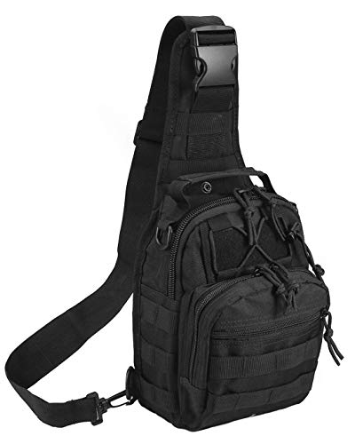 BoredParacord Black Outdoor Tactical Backpack, Military Sport Pack Shoulder Daypack for Camping, Hiking, Trekking, Rover Sling