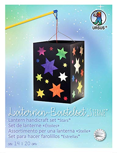 Ursus 2340099 Laternenbastelset Sterne, Laternenrohling sowie Deckel und Boden aus schwarzem Fotokarton 300 g/qm, Blatt Transparentpapier im 10 Farben, fertige Laterne ca. 14 x 14 x 20 cm, bunt