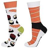 soxo Damen Bunte Muster Socken | Größe 35-40 | Motivsocken aus Baumwolle | Lustige Geschenk für Frauen (Sushi)