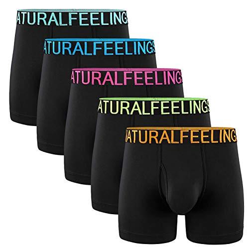 5Mayi Mens Underwear Boxer Briefs Cotton Black Men's Boxer Briefs Underwear Men Pack of 5 Open Fly Pouch M