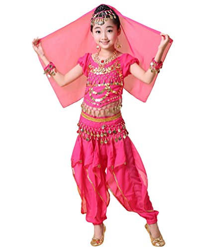 LaoZan Nia Moda Set de Danza del Vientre Top de Baile de Manga Corta Pantalones con Volantes Ropa Halloween Disfraz India (Amarillo(3Pcs), Asia XL)