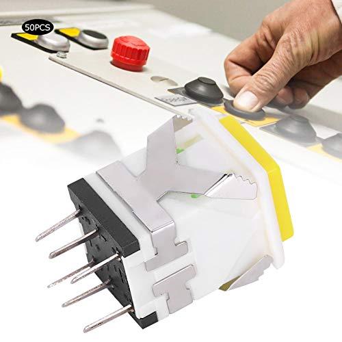 Interruptor de botón pulsador de 50 piezas Interruptor de botón pulsador de enclavamiento 12V Botón pulsador momentáneo Industrial(12V)