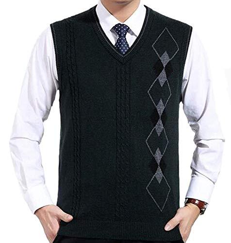 Willlly heren trui voorjaar herfst geometrisch chic patroon casual sweater pullover zonder mouwen V-hals slim fit wolvest gebreid vest
