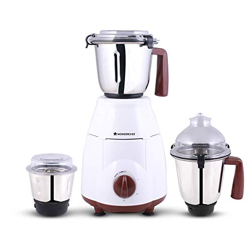 Wonderchef Amalfi 800-Watt Mixer Grinder with 3 Jars (White/Brown)