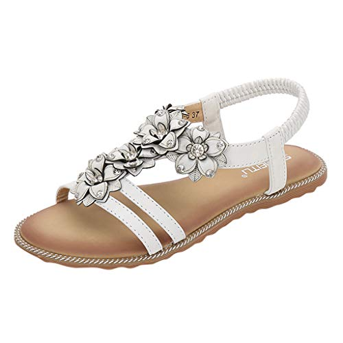 Find Discount Eimvano Women's Flat Sandals, Summer Beach Flip Flops Thong T-Strap Flat Rhinestone Be...