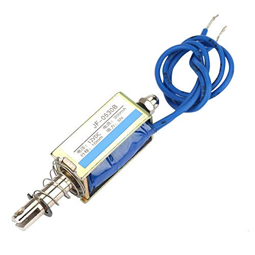 Electroimán DC, Control de automatización 6/12/24V DC 300mA DC Electroimán de tracción con Rango retráctil de 10 mm para maquinaria Textil(12V)