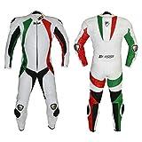 BIESSE - Tuta da MOTO intera in vera pelle bovina, ideale per uso professionale in pista. Modello Tricolore (Verde/Bianco/Rosso, M)