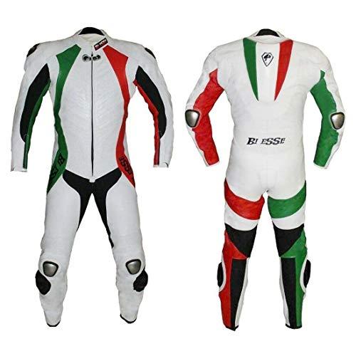 BIESSE - Tuta da MOTO intera in vera pelle bovina, ideale per uso professionale in pista. Modello Tricolore (Verde/Bianco/Rosso, XS)