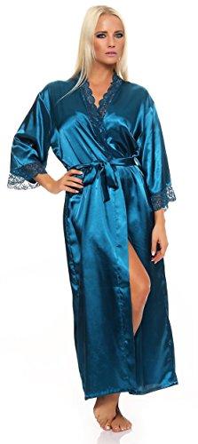 AE Damen langes Kimono Nachtmantel Seidenrobe Morgenmantel Nachtwäsche Dessous Satin Nightwear Reizwäsche mit Spitze Gr. S-XXL Petrol M