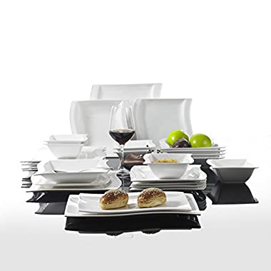 Malacasa, Series Flora, 26-Piece Ivory White Porcelain Dinnerware Combi-Set with 6 Cereal Bowls/Dessert Plates/Soup Plates/Dinner Plates and 2 Rectangular Plates Service for 6