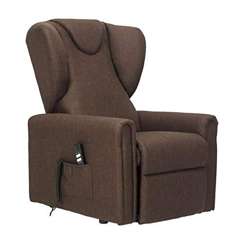 POLTRONE ITALIA - Sillón elevable máx. 160 kg reforzado con 2 mot OKIN reclinable, asiento indeformado grande, seguridad médica, destrucble 19% – Sillón-BarbaraL-2M-TABRO marrón antimanchas
