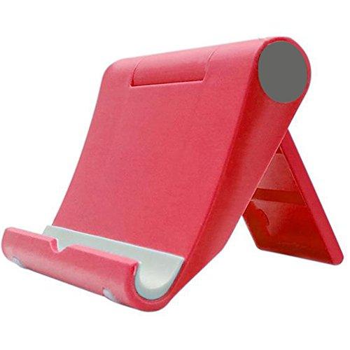 Outflower Lazy Mbile Phone Stand Desktop Multifunzione Rotante Tablet Computer Base del Telefono Mobile Accessori Moda pieghevole in Plastica Porta Cellulare Rosso 9x10.5x2.5cm
