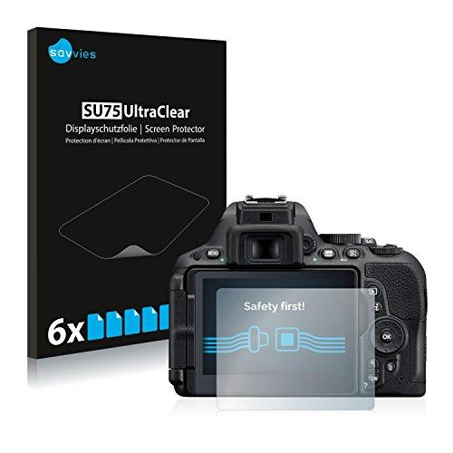 savvies Protector Pantalla Compatible con Nikon D5500 (6 Unidades) Pelicula Ultra Transparente