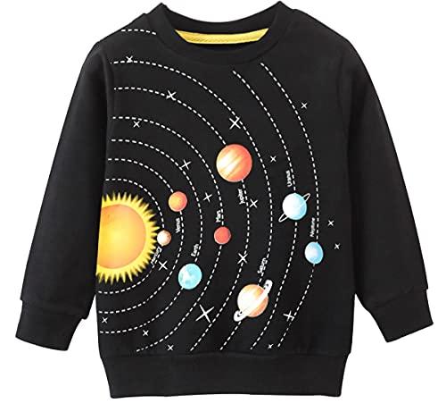 EULLA Sudadera para niños de 1-7 años, 92-122, 6# Black Planet, Clásico