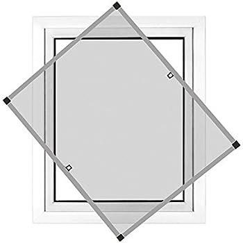 JAROLIFT Profi Line Mosquitera con marco de aluminio para ventana 110cm x 150cm blanca Montaje sin perforaci/ón